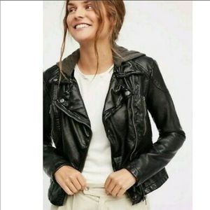Free People Faux Leather Moto Jacket with hood